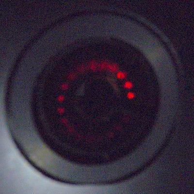 多重反射時のミラー上He-Neレーザースポット